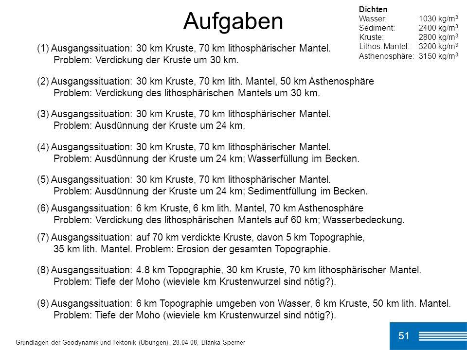 51 Aufgaben Grundlagen der Geodynamik und Tektonik (Übungen), 28.04.08, Blanka Sperner (1) Ausgangssituation: 30 km Kruste, 70 km lithosphärischer Mantel.