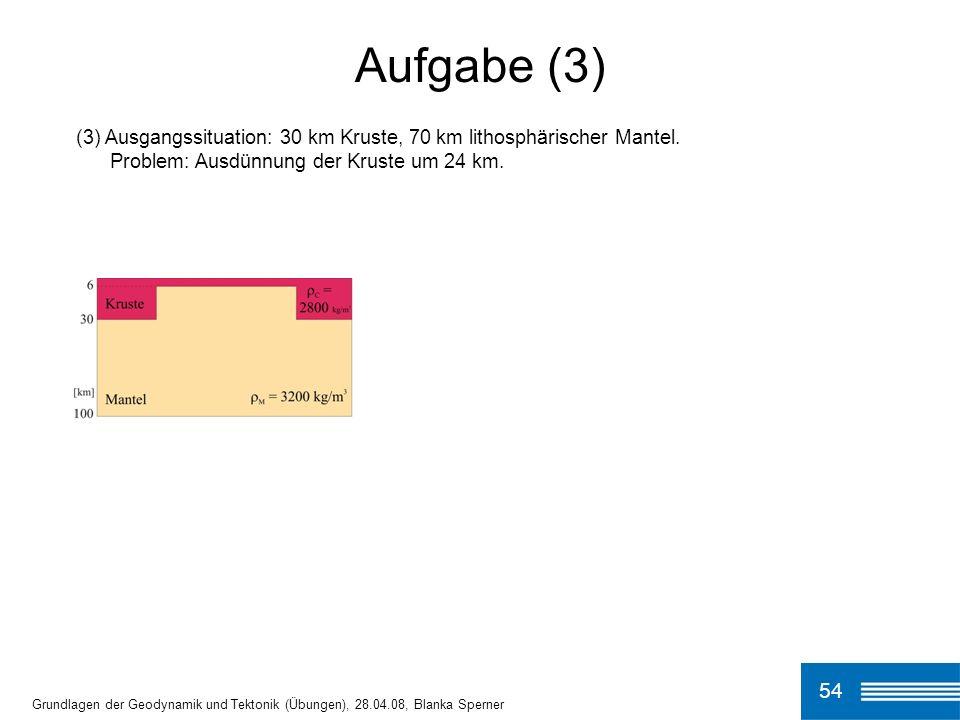 (3) Ausgangssituation: 30 km Kruste, 70 km lithosphärischer Mantel.