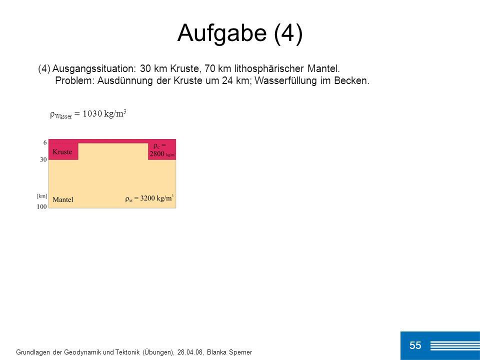 (4) Ausgangssituation: 30 km Kruste, 70 km lithosphärischer Mantel.