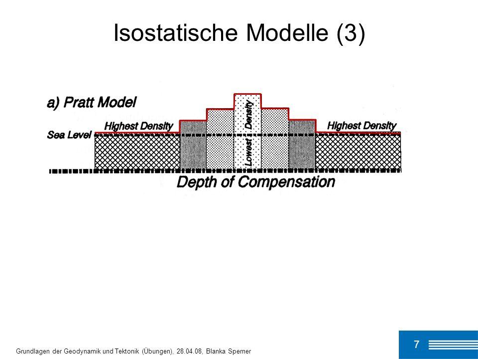 7 Isostatische Modelle (3) Grundlagen der Geodynamik und Tektonik (Übungen), 28.04.08, Blanka Sperner
