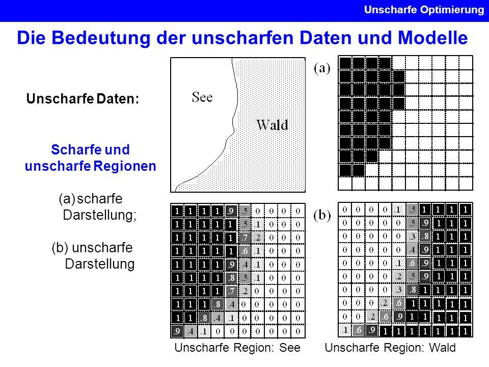 Unscharfe Optimierung Die Bedeutung der unscharfen Daten und Modelle Unscharfe Daten: Scharfe und unscharfe Regionen (a)scharfe Darstellung; (b) unsch