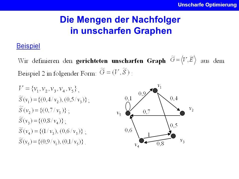 Unscharfe Optimierung Die Mengen der Nachfolger in unscharfen Graphen Beispiel