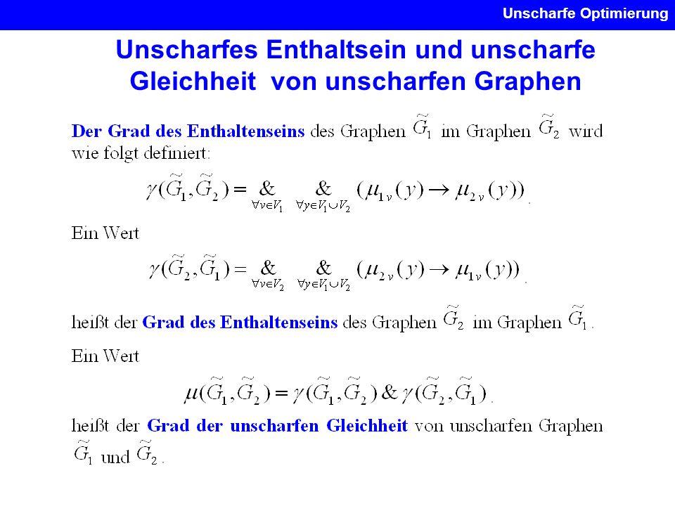 Unscharfe Optimierung Unscharfes Enthaltsein und unscharfe Gleichheit von unscharfen Graphen