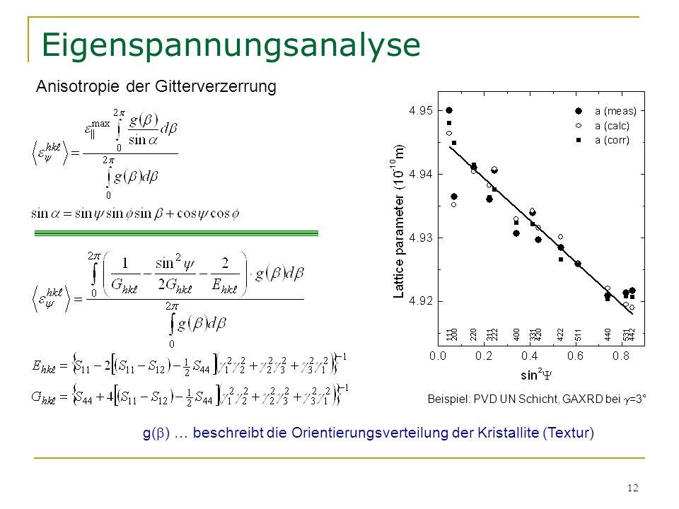 12 Eigenspannungsanalyse g( ) … beschreibt die Orientierungsverteilung der Kristallite (Textur) Anisotropie der Gitterverzerrung Beispiel: PVD UN Schi