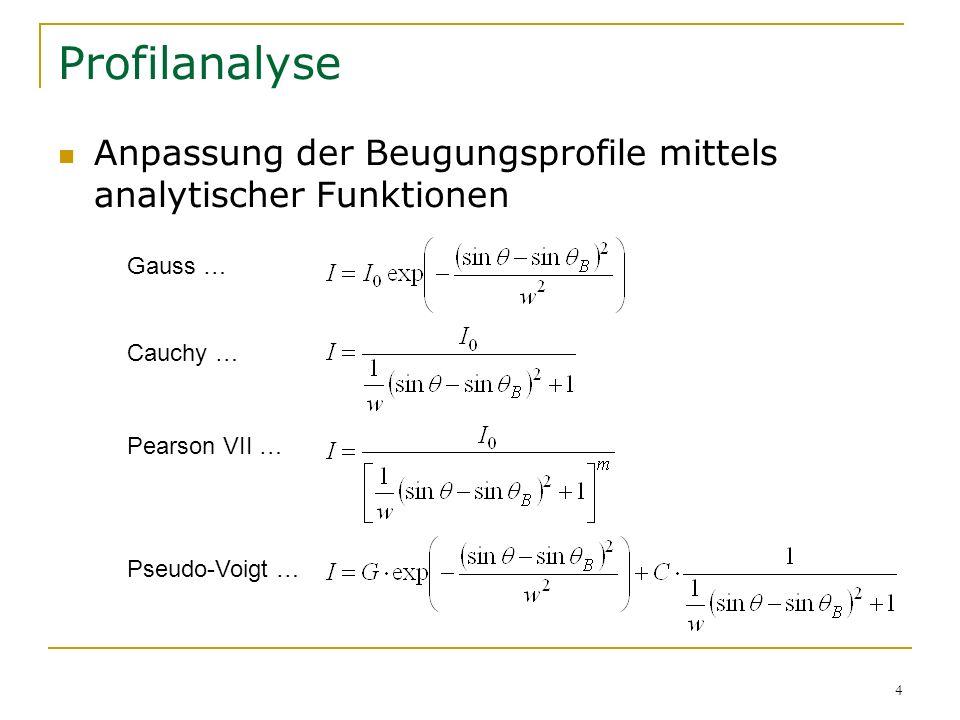 4 Profilanalyse Anpassung der Beugungsprofile mittels analytischer Funktionen Gauss … Cauchy … Pearson VII … Pseudo-Voigt …