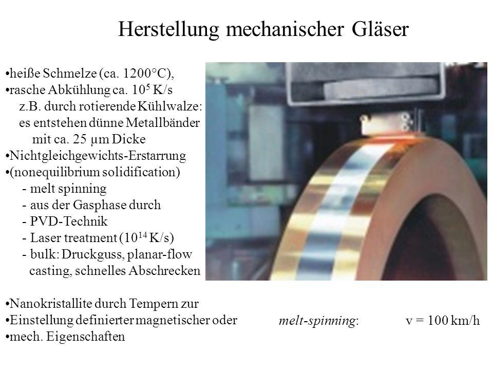 heiße Schmelze (ca. 1200°C), rasche Abkühlung ca. 10 5 K/s z.B. durch rotierende Kühlwalze: es entstehen dünne Metallbänder mit ca. 25 µm Dicke Nichtg