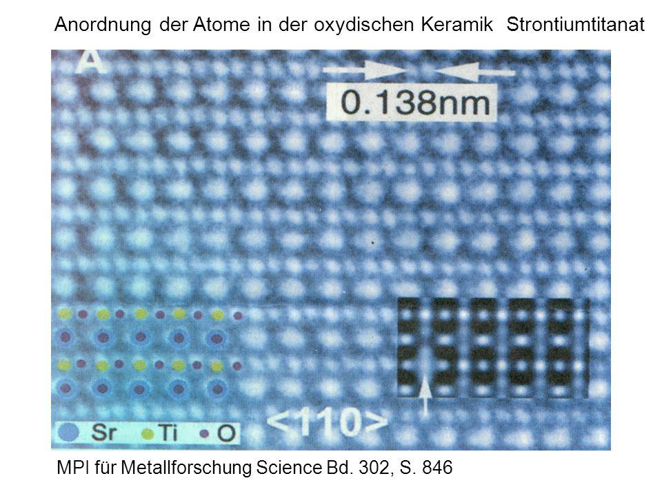 Anordnung der Atome in der oxydischen Keramik Strontiumtitanat MPI für Metallforschung Science Bd. 302, S. 846