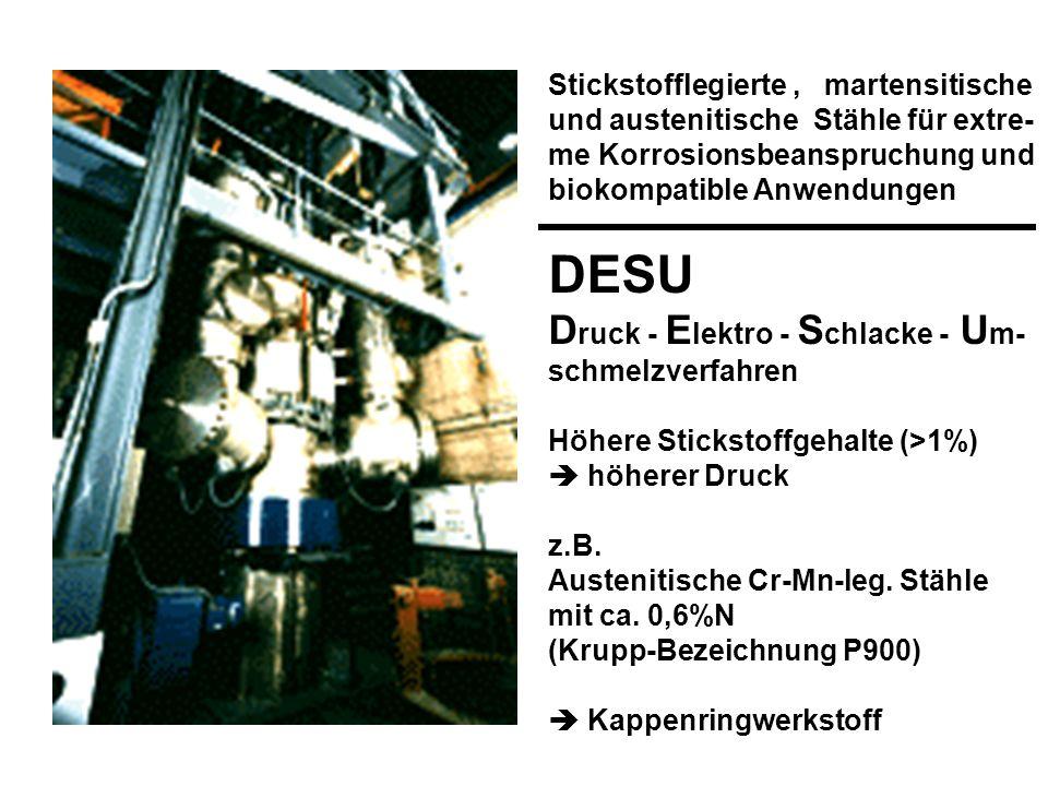 Stickstofflegierte, martensitische und austenitische Stähle für extre- me Korrosionsbeanspruchung und biokompatible Anwendungen DESU D ruck - E lektro