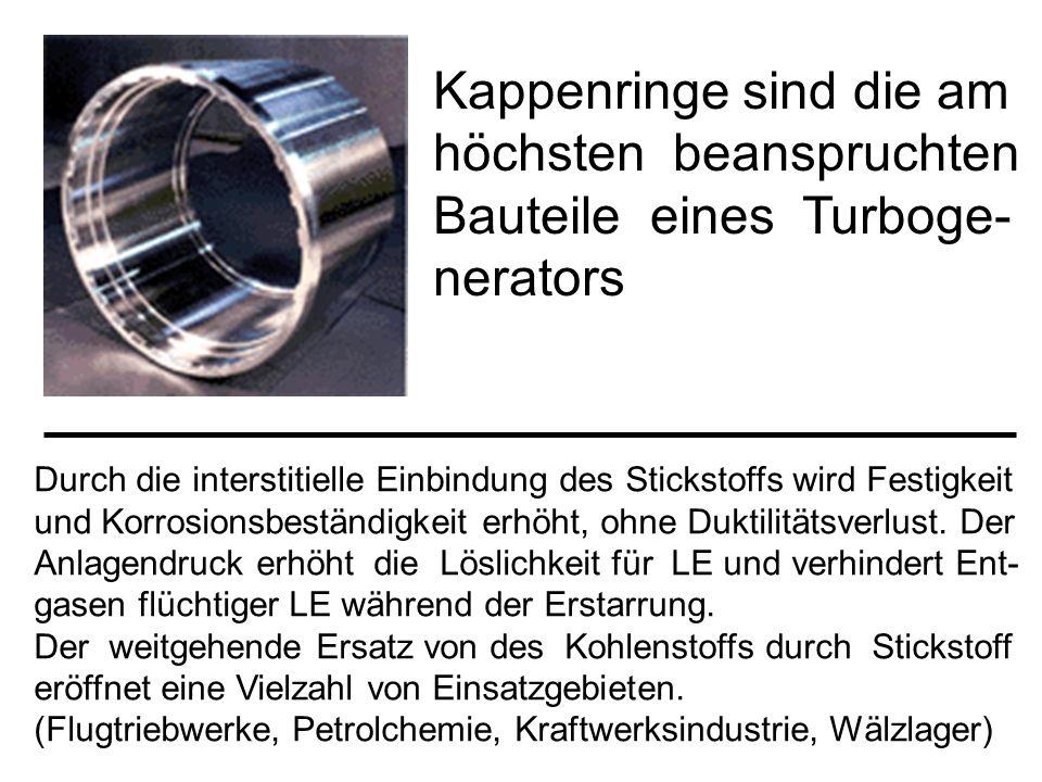 Kappenringe sind die am höchsten beanspruchten Bauteile eines Turboge- nerators Durch die interstitielle Einbindung des Stickstoffs wird Festigkeit un