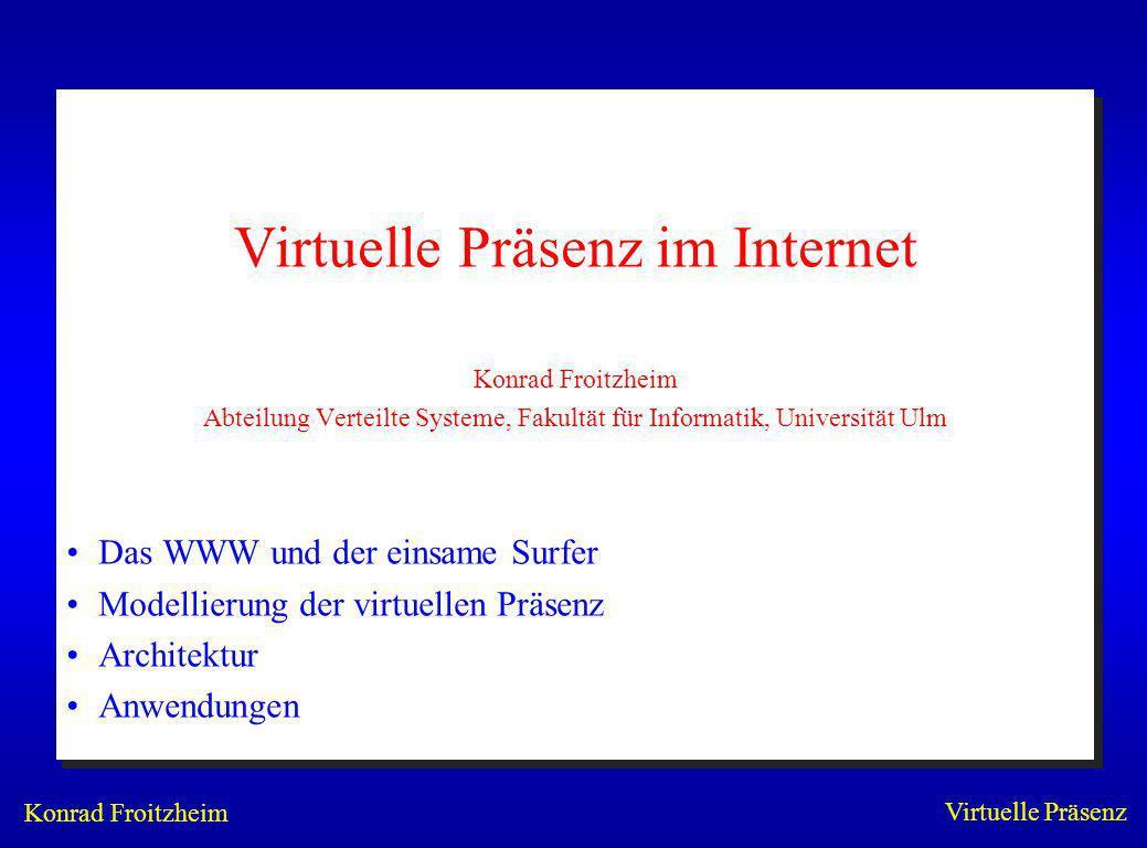 Konrad Froitzheim Virtuelle Präsenz Konferenz mit WebMedia WebVideo –Live-Media WWW-Server –viele Klienten –individuelle VideoStröme –JPEG, GIF, MPEG, H.261 WebAudio –GSM, ADPCM –Java-Decoder