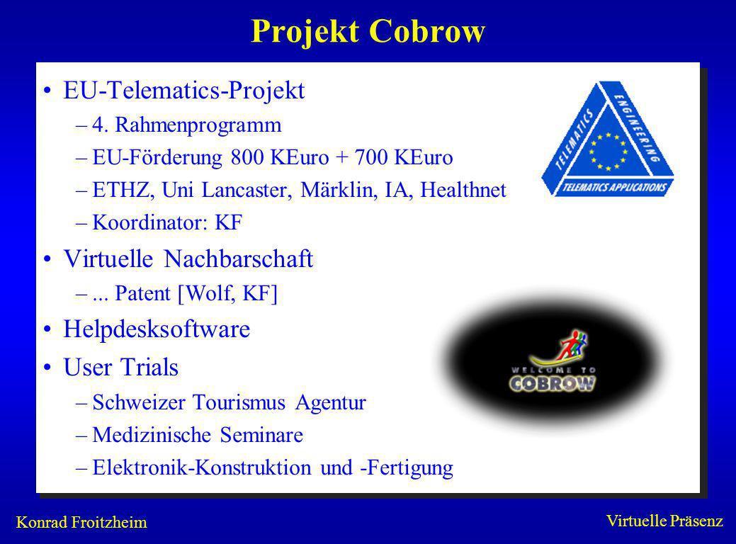 Konrad Froitzheim Virtuelle Präsenz Projekt Cobrow EU-Telematics-Projekt –4. Rahmenprogramm –EU-Förderung 800 KEuro + 700 KEuro –ETHZ, Uni Lancaster,