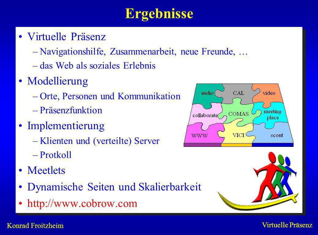 Konrad Froitzheim Virtuelle Präsenz Ergebnisse Virtuelle Präsenz –Navigationshilfe, Zusammenarbeit, neue Freunde, … –das Web als soziales Erlebnis Mod