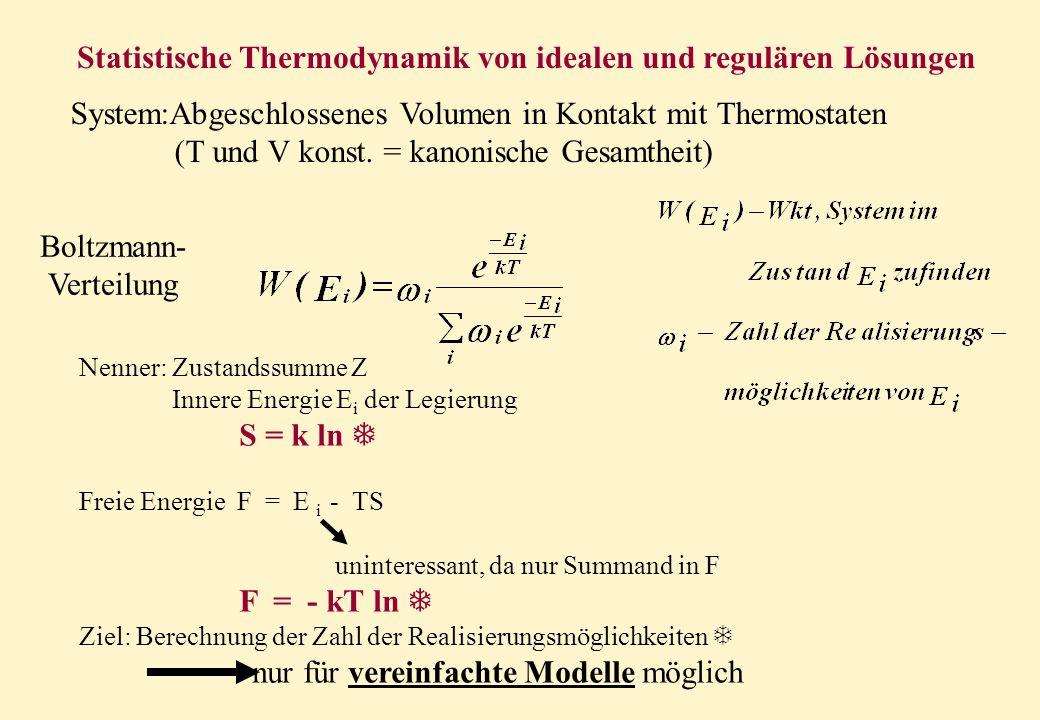 Statistische Thermodynamik von idealen und regulären Lösungen System:Abgeschlossenes Volumen in Kontakt mit Thermostaten (T und V konst. = kanonische