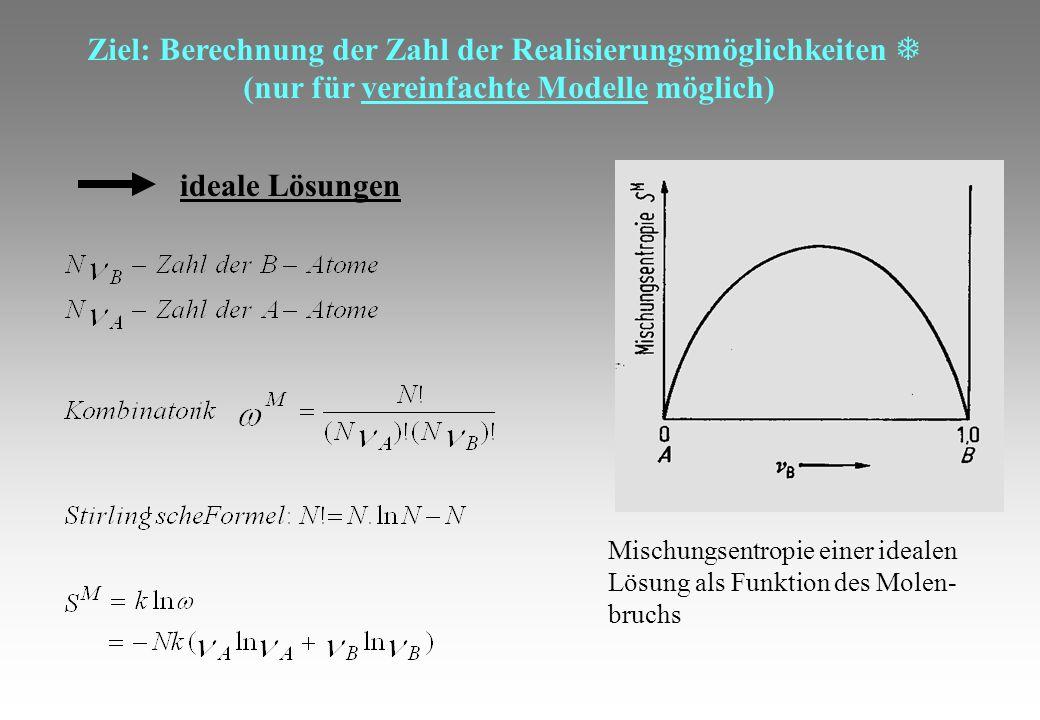 Ziel: Berechnung der Zahl der Realisierungsmöglichkeiten (nur für vereinfachte Modelle möglich) ideale Lösungen Mischungsentropie einer idealen Lösung