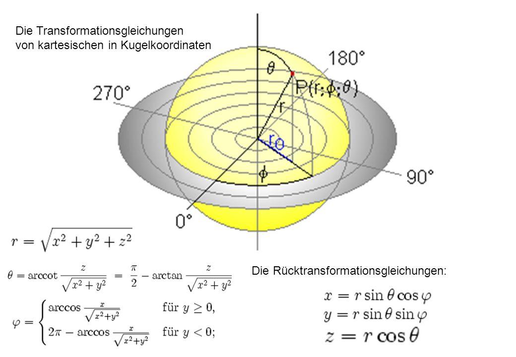 Die Transformationsgleichungen von kartesischen in Kugelkoordinaten Die Rücktransformationsgleichungen:
