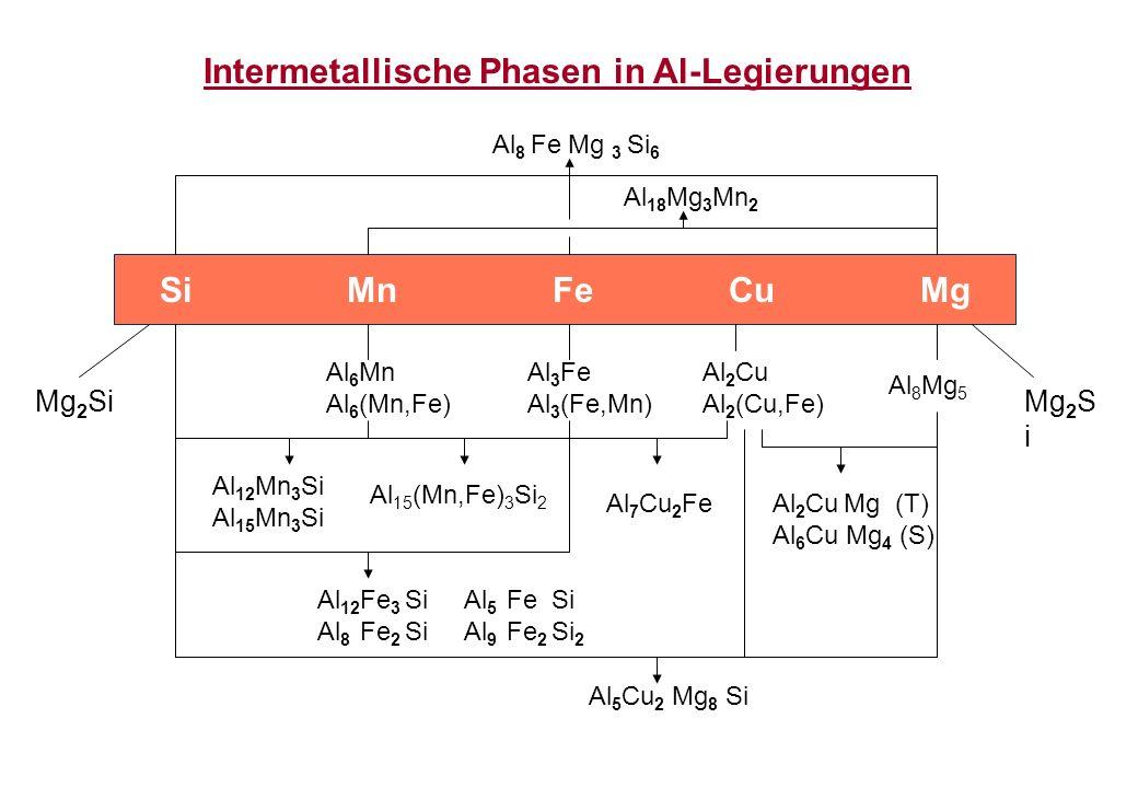 Intermetallische Phasen in Al-Legierungen Al 8 Fe Mg 3 Si 6 Si Mn Fe Cu Mg Al 6 Mn Al 6 (Mn,Fe) Al 18 Mg 3 Mn 2 Al 3 Fe Al 3 (Fe,Mn) Al 2 Cu Al 2 (Cu,