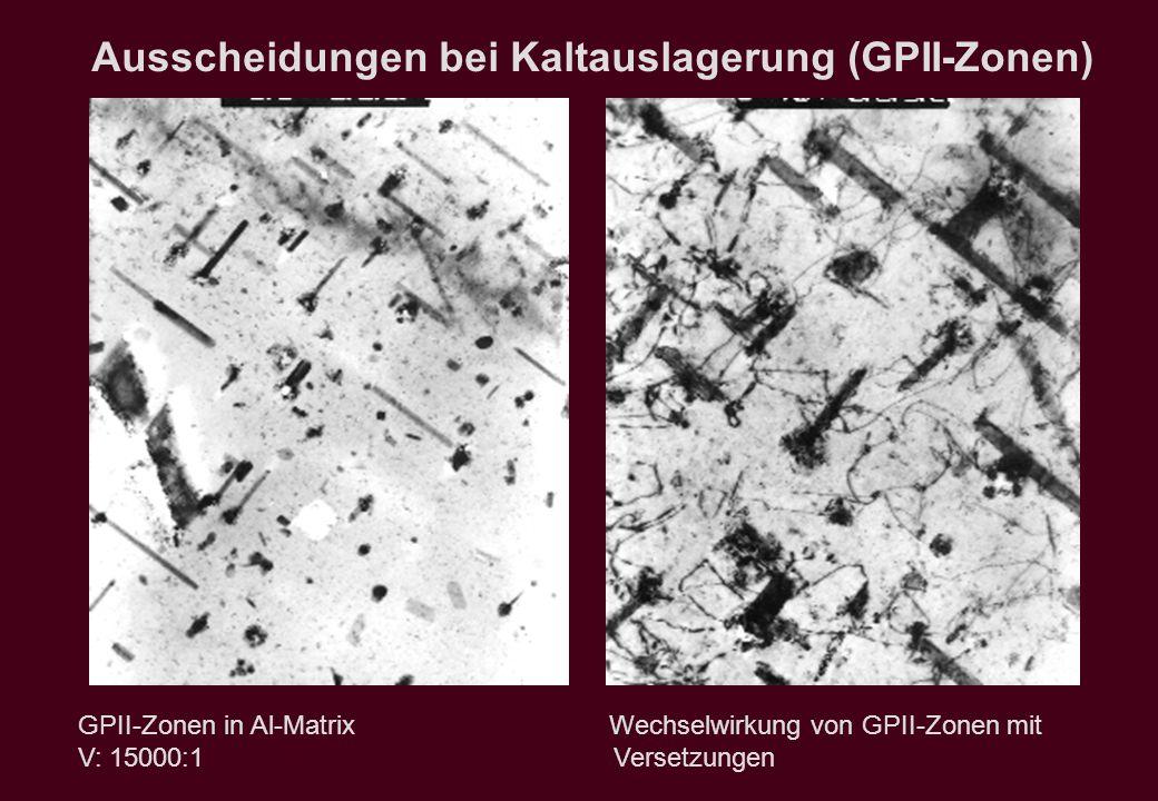 Ausscheidungen bei Kaltauslagerung (GPII-Zonen) GPII-Zonen in Al-Matrix Wechselwirkung von GPII-Zonen mit V: 15000:1 Versetzungen
