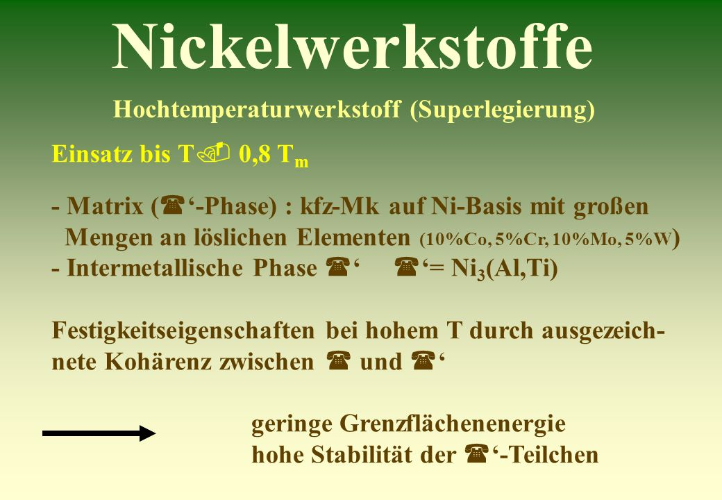 Nickelwerkstoffe Hochtemperaturwerkstoff (Superlegierung) Einsatz bis T 0,8 T m - Matrix ( -Phase) : kfz-Mk auf Ni-Basis mit großen Mengen an lösliche