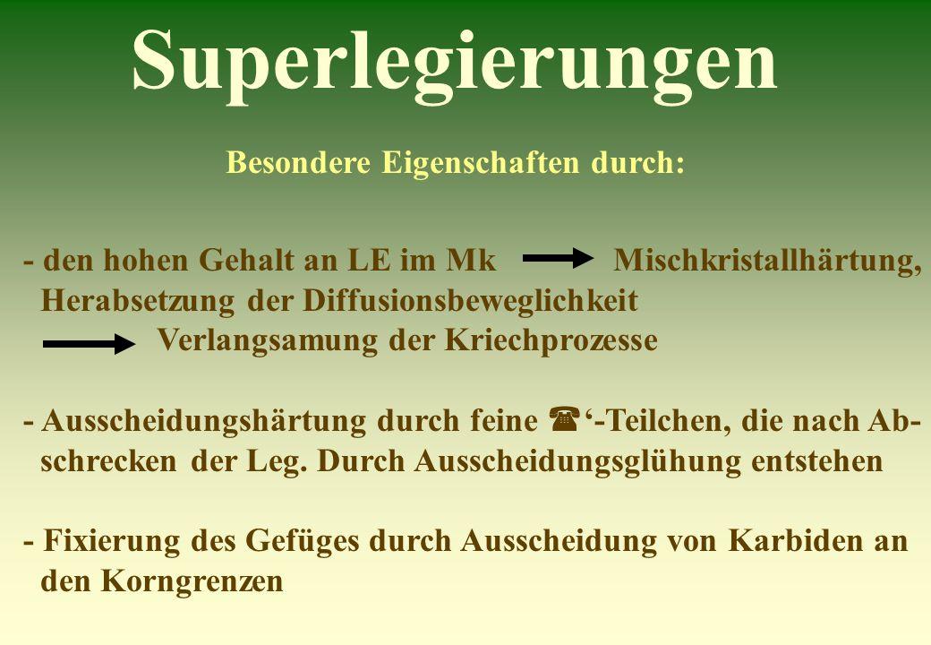 Superlegierungen Besondere Eigenschaften durch: - den hohen Gehalt an LE im Mk Mischkristallhärtung, Herabsetzung der Diffusionsbeweglichkeit Verlangs