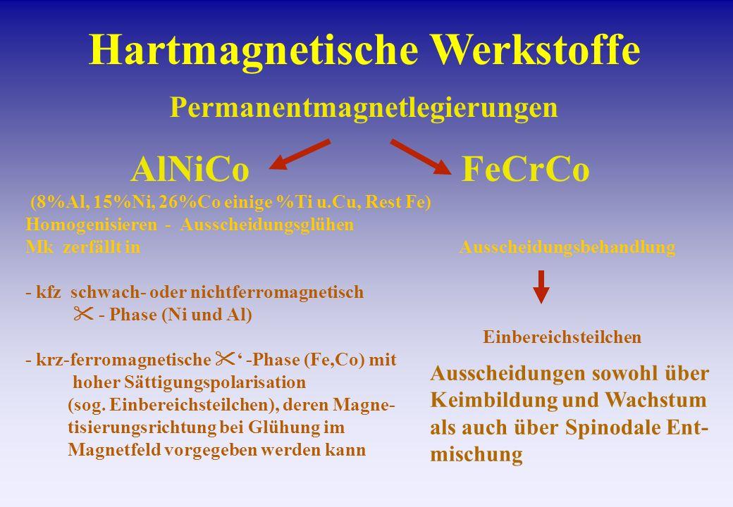Hartmagnetische Werkstoffe AlNiCoFeCrCo Permanentmagnetlegierungen (8%Al, 15%Ni, 26%Co einige %Ti u.Cu, Rest Fe) Homogenisieren - Ausscheidungsglühen