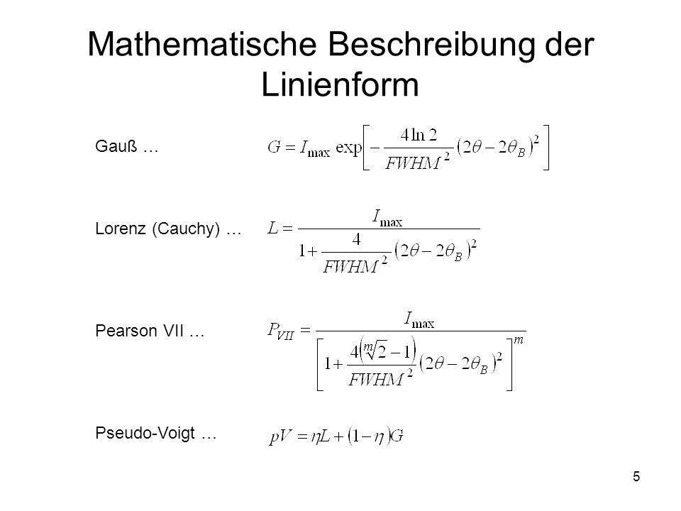 6 Unterschiede in der Linienform Cauchy Pearson Gauß