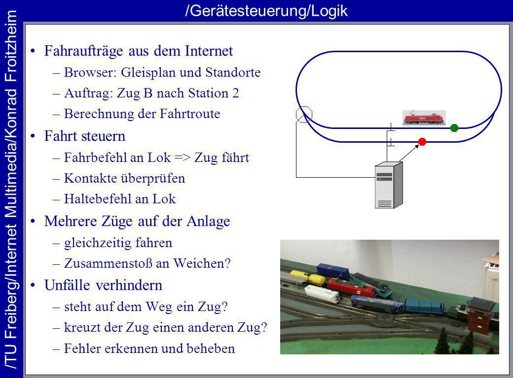 /TU Freiberg/Internet Multimedia/Konrad Froitzheim /Gerätesteuerung/Rückmeldung Anlage ungenau –Loks verschieden schnell –Weichen schalten nicht immer –Zug am Ziel.
