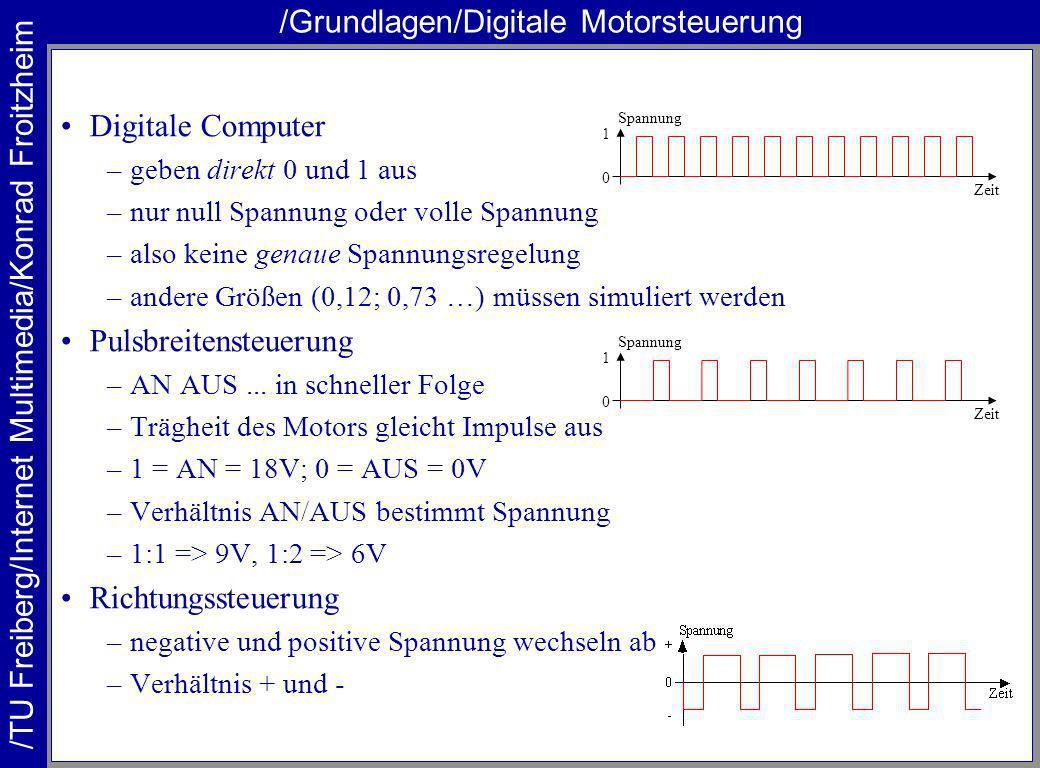 /TU Freiberg/Internet Multimedia/Konrad Froitzheim /Grundlagen/Digitale Motorsteuerung Digitale Computer –geben direkt 0 und 1 aus –nur null Spannung oder volle Spannung –also keine genaue Spannungsregelung –andere Größen (0,12; 0,73 …) müssen simuliert werden Pulsbreitensteuerung –AN AUS...