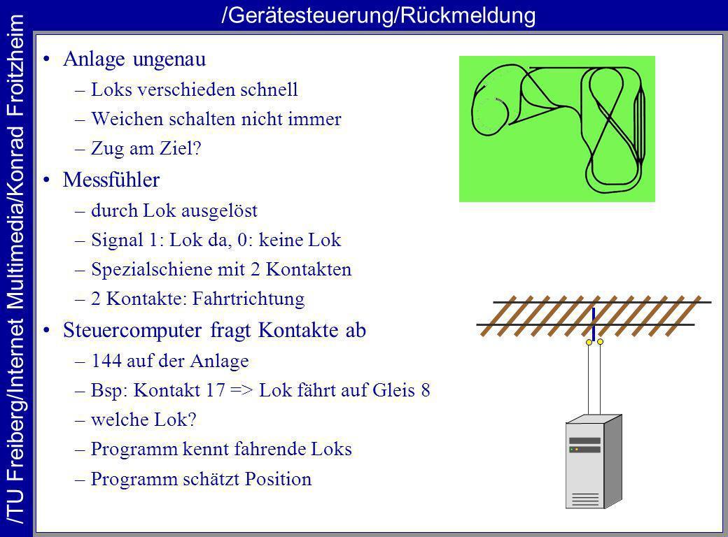 /TU Freiberg/Internet Multimedia/Konrad Froitzheim /Gerätesteuerung/Kommandopakete Kommando-Pakete auf der Schiene –Adresse der Lok (0 bis 80) –Werte für Geschwindigkeit (0 bis 15) –Bsp: Lok 19, Licht an, Geschw.