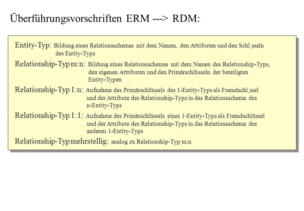 Entity-Typ: Bildung eines Relationsschemas mit dem Namen, den Attributen und den Schl¸sseln des Entity-Typs Relationship-Typ 1:1: Aufnahme des Primärs