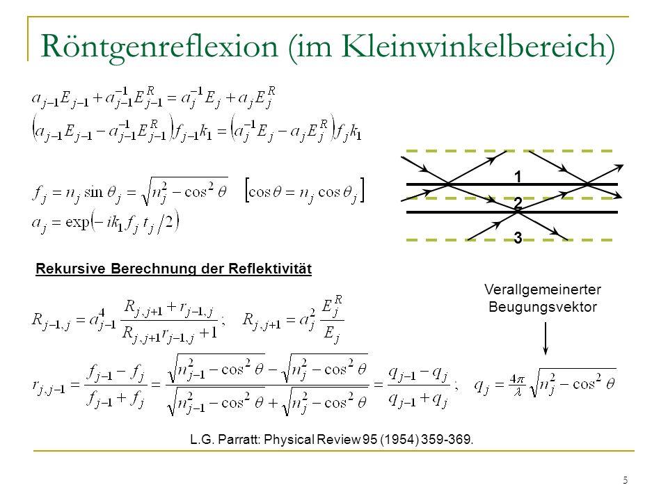 5 Röntgenreflexion (im Kleinwinkelbereich) 1 2 3 Verallgemeinerter Beugungsvektor L.G. Parratt: Physical Review 95 (1954) 359-369. Rekursive Berechnun