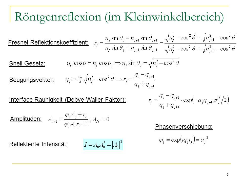 6 Röntgenreflexion (im Kleinwinkelbereich) Fresnel Reflektionskoeffizient: Snell Gesetz: Beugungsvektor: Interface Rauhigkeit (Debye-Waller Faktor): P