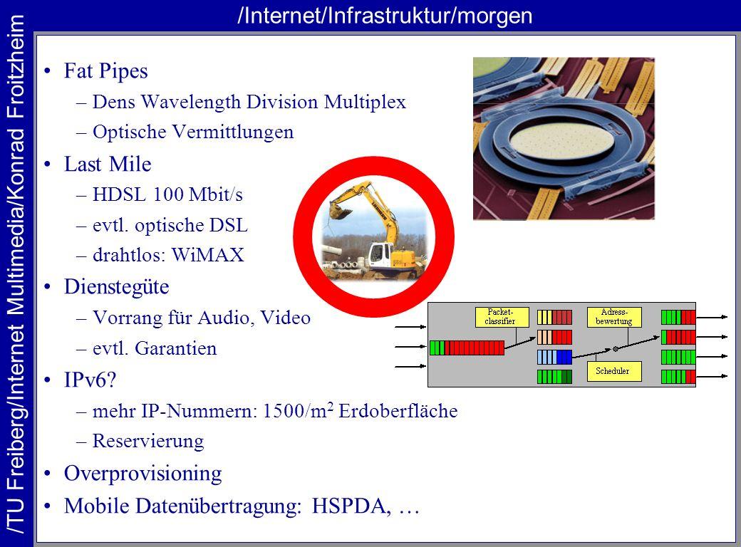/TU Freiberg/Internet Multimedia/Konrad Froitzheim /Internet/Infrastruktur/P2P Peer to Peer (P2P) –Daten von Gleichen , nicht von Servern –Problem ADSL P2P: Filesharing –KaaZaa, Donkey, … –zentrale Verzeichnisdienste P2P: Replikation –Daten verteilt lagern –viele Kopien lagern –Kopien bedarfsgesteuert erstellen und löschen –Freenet P2P: Transport lokal –Inhalte liegen in der Nachbarschaft