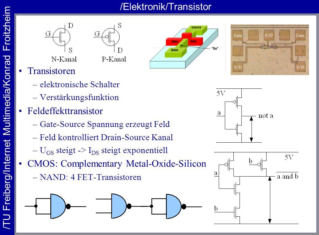 /TU Freiberg/Internet Multimedia/Konrad Froitzheim /Elektronik/Transistor Transistoren –elektronische Schalter –Verstärkungsfunktion Feldeffekttransis