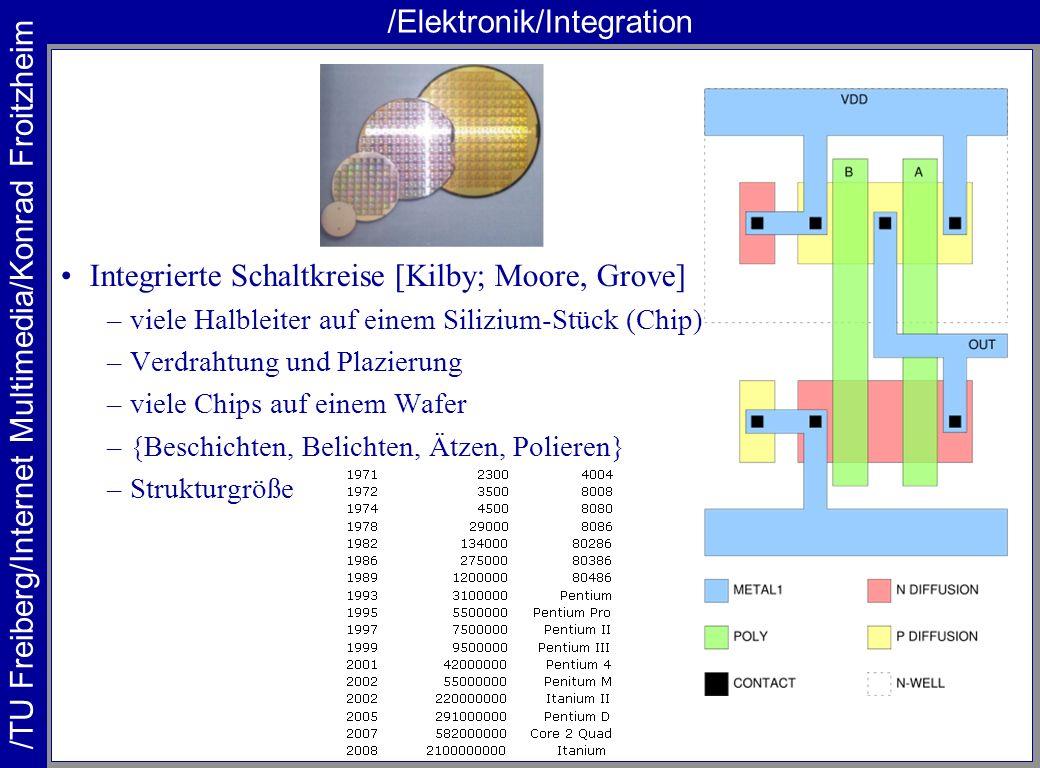 /TU Freiberg/Internet Multimedia/Konrad Froitzheim /Elektronik/Integration Integrierte Schaltkreise [Kilby; Moore, Grove] –viele Halbleiter auf einem
