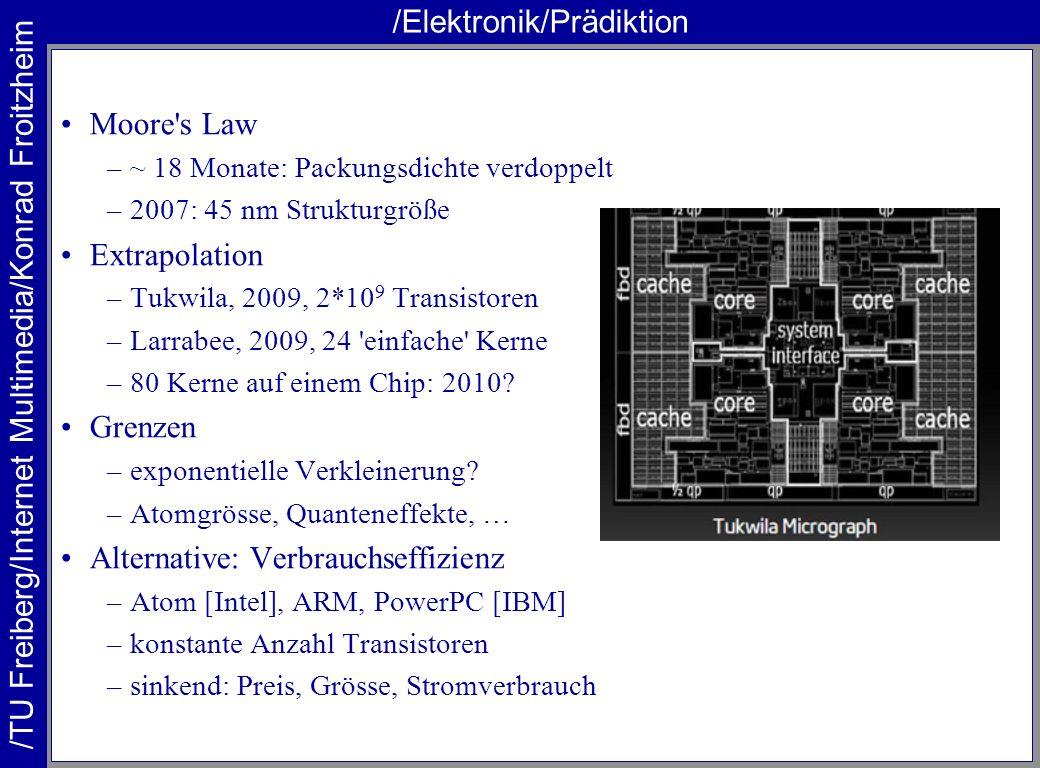 /TU Freiberg/Internet Multimedia/Konrad Froitzheim /Elektronik/Prädiktion Moore's Law –~ 18 Monate: Packungsdichte verdoppelt –2007: 45 nm Strukturgrö