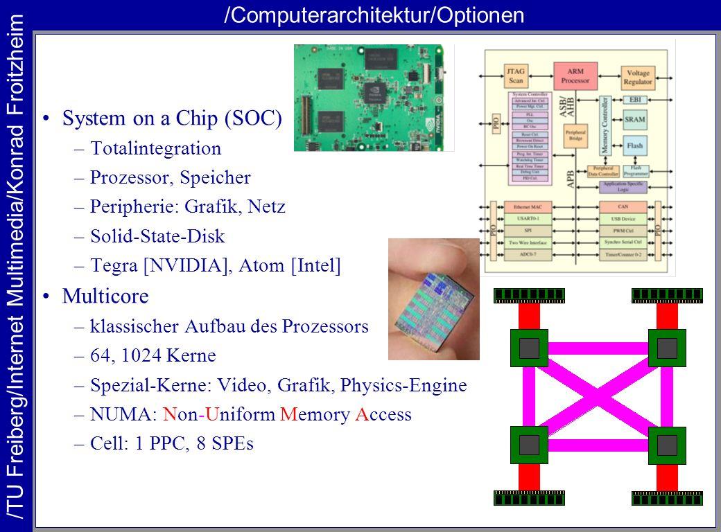 /TU Freiberg/Internet Multimedia/Konrad Froitzheim /Computerarchitektur/Optionen System on a Chip (SOC) –Totalintegration –Prozessor, Speicher –Periph