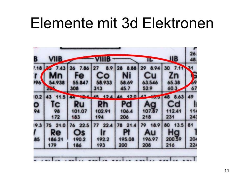 11 Elemente mit 3d Elektronen