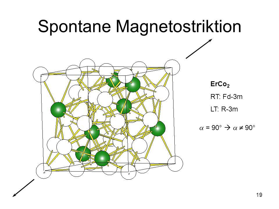 19 Spontane Magnetostriktion ErCo 2 RT: Fd-3m LT: R-3m = 90° 90°