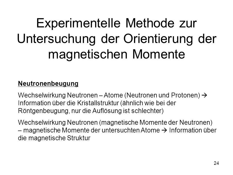 24 Experimentelle Methode zur Untersuchung der Orientierung der magnetischen Momente Neutronenbeugung Wechselwirkung Neutronen – Atome (Neutronen und Protonen) Information über die Kristallstruktur (ähnlich wie bei der Röntgenbeugung, nur die Auflösung ist schlechter) Wechselwirkung Neutronen (magnetische Momente der Neutronen) – magnetische Momente der untersuchten Atome Information über die magnetische Struktur