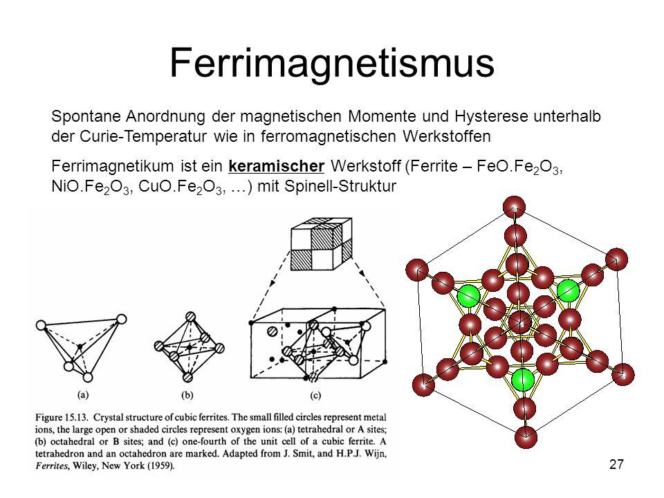 27 Ferrimagnetismus Spontane Anordnung der magnetischen Momente und Hysterese unterhalb der Curie-Temperatur wie in ferromagnetischen Werkstoffen Ferrimagnetikum ist ein keramischer Werkstoff (Ferrite – FeO.Fe 2 O 3, NiO.Fe 2 O 3, CuO.Fe 2 O 3, …) mit Spinell-Struktur