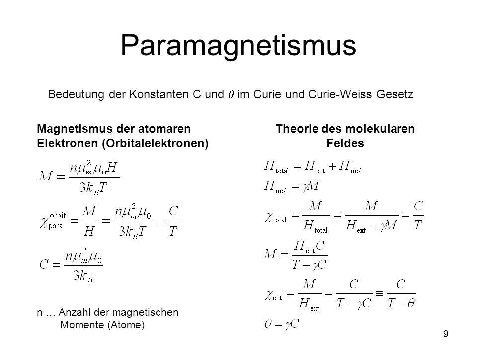 9 Paramagnetismus Bedeutung der Konstanten C und im Curie und Curie-Weiss Gesetz Magnetismus der atomaren Elektronen (Orbitalelektronen) n … Anzahl der magnetischen Momente (Atome) Theorie des molekularen Feldes