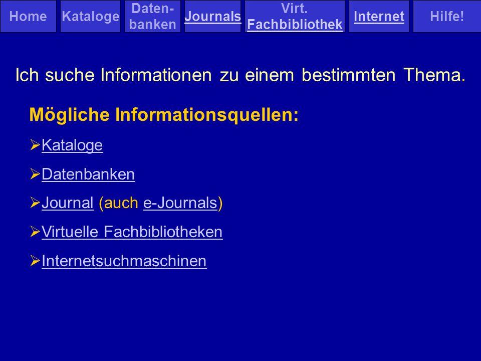 Thematische Suche - Datenbanken Fachdatenbanken: Zeitschriftenartikel, Kongressbeitäge, Dissertationen, Berichte Themenübergreifende Fachdatenbanken Datenbanken für spezielle Publikationen: Dissertationen, Berichte etc.