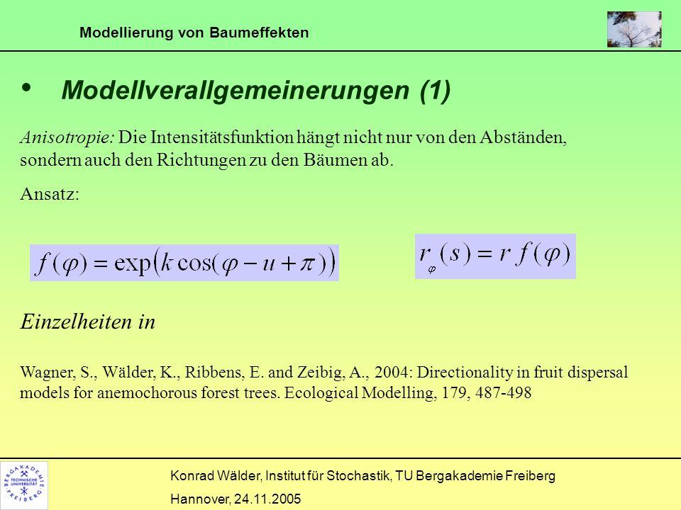 Modellierung von Baumeffekten Konrad Wälder, Institut für Stochastik, TU Bergakademie Freiberg Hannover, 24.11.2005 Modellverallgemeinerungen (1) Anis