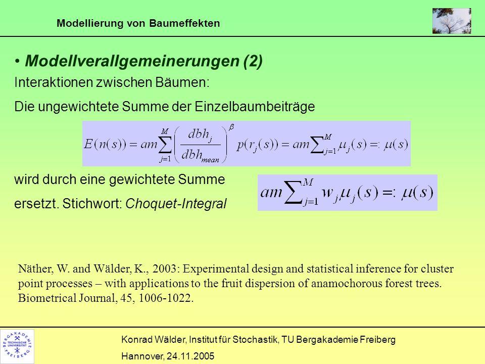 Modellierung von Baumeffekten Konrad Wälder, Institut für Stochastik, TU Bergakademie Freiberg Hannover, 24.11.2005 Modellverallgemeinerungen (2) Inte