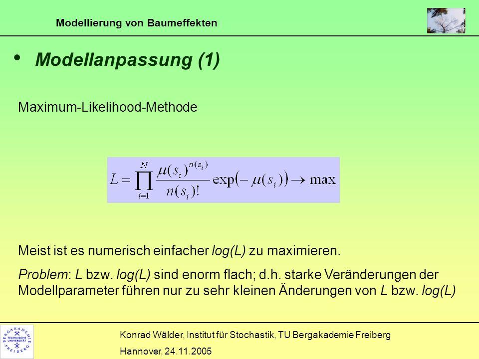 Modellierung von Baumeffekten Konrad Wälder, Institut für Stochastik, TU Bergakademie Freiberg Hannover, 24.11.2005 Modellanpassung (1) Maximum-Likeli