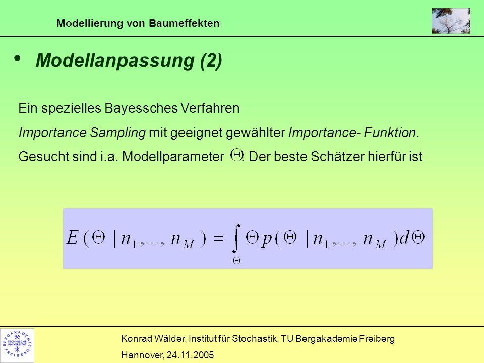 Modellierung von Baumeffekten Konrad Wälder, Institut für Stochastik, TU Bergakademie Freiberg Hannover, 24.11.2005 Modellanpassung (2) Ein spezielles