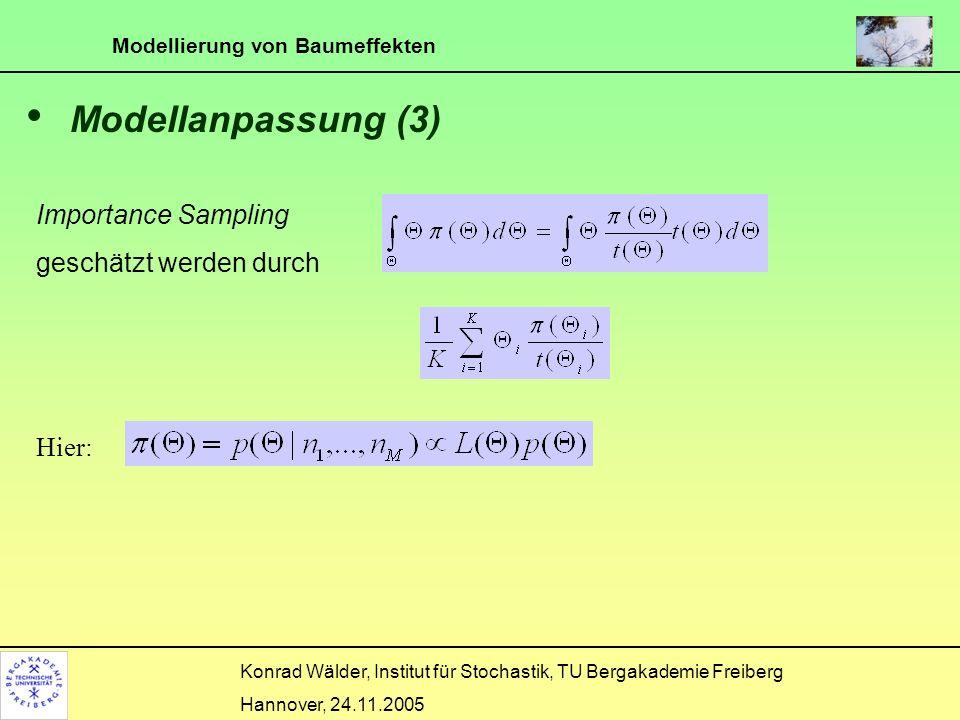 Modellierung von Baumeffekten Konrad Wälder, Institut für Stochastik, TU Bergakademie Freiberg Hannover, 24.11.2005 Modellanpassung (3) Importance Sam