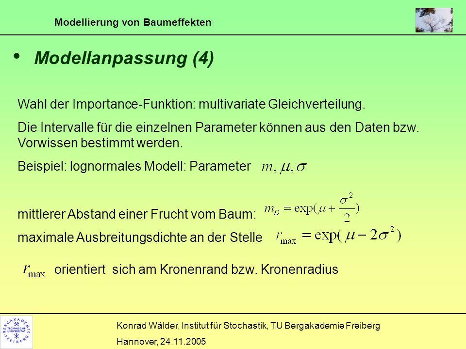Modellierung von Baumeffekten Konrad Wälder, Institut für Stochastik, TU Bergakademie Freiberg Hannover, 24.11.2005 Modellanpassung (4) Wahl der Impor