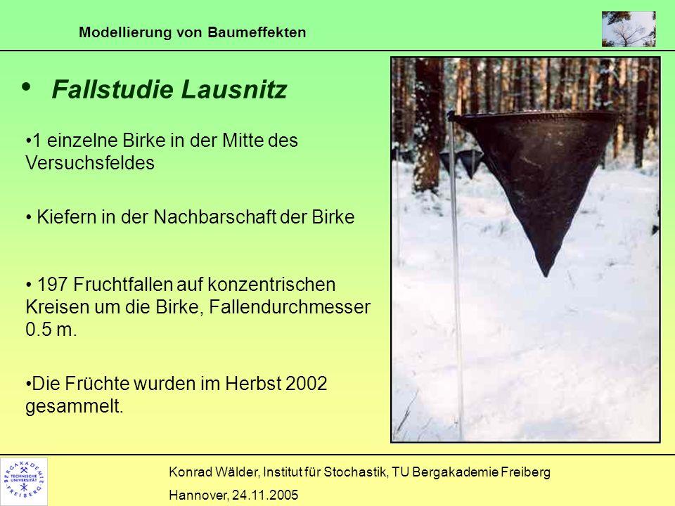 Modellierung von Baumeffekten Konrad Wälder, Institut für Stochastik, TU Bergakademie Freiberg Hannover, 24.11.2005 Fallstudie Lausnitz 1 einzelne Bir