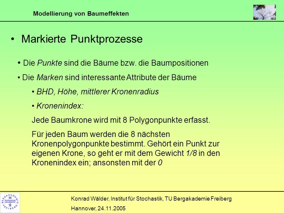 Modellierung von Baumeffekten Konrad Wälder, Institut für Stochastik, TU Bergakademie Freiberg Hannover, 24.11.2005 Markierte Punktprozesse Die Punkte